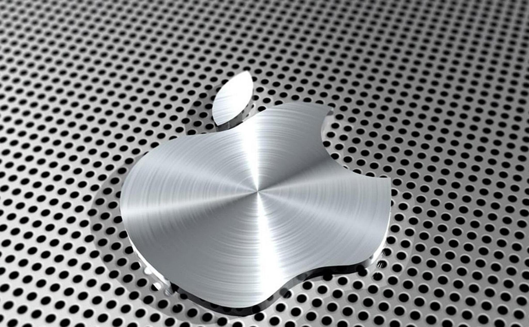 iPad Retina HD Wallpaper Apple Logo in Steel