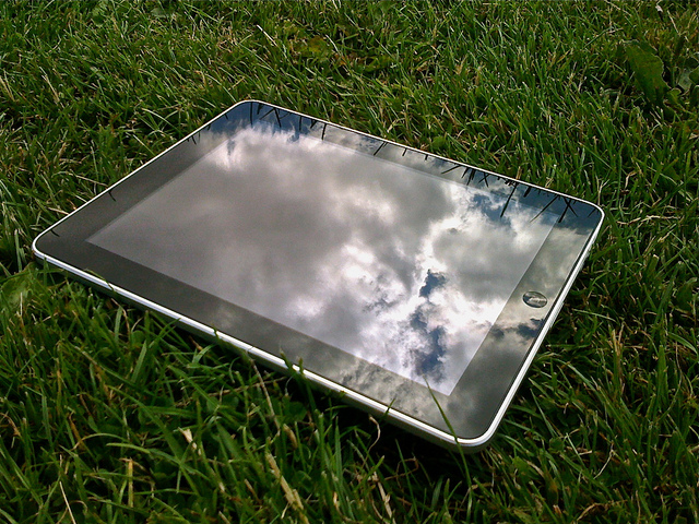 iPad on grass