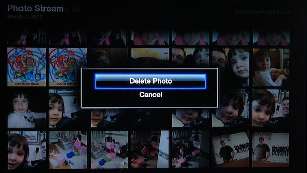 Delete photo Apple TV