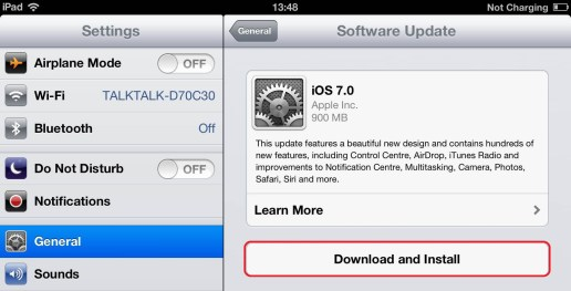 update iOS download button