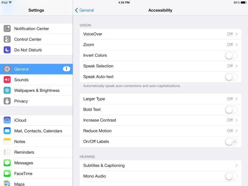 Access accessibility tab to expose Larger Type option.