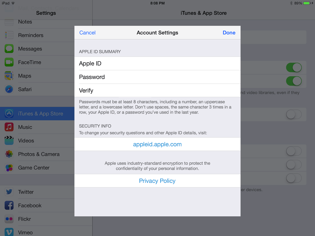 In Apple ID settings, you can see how to change security info