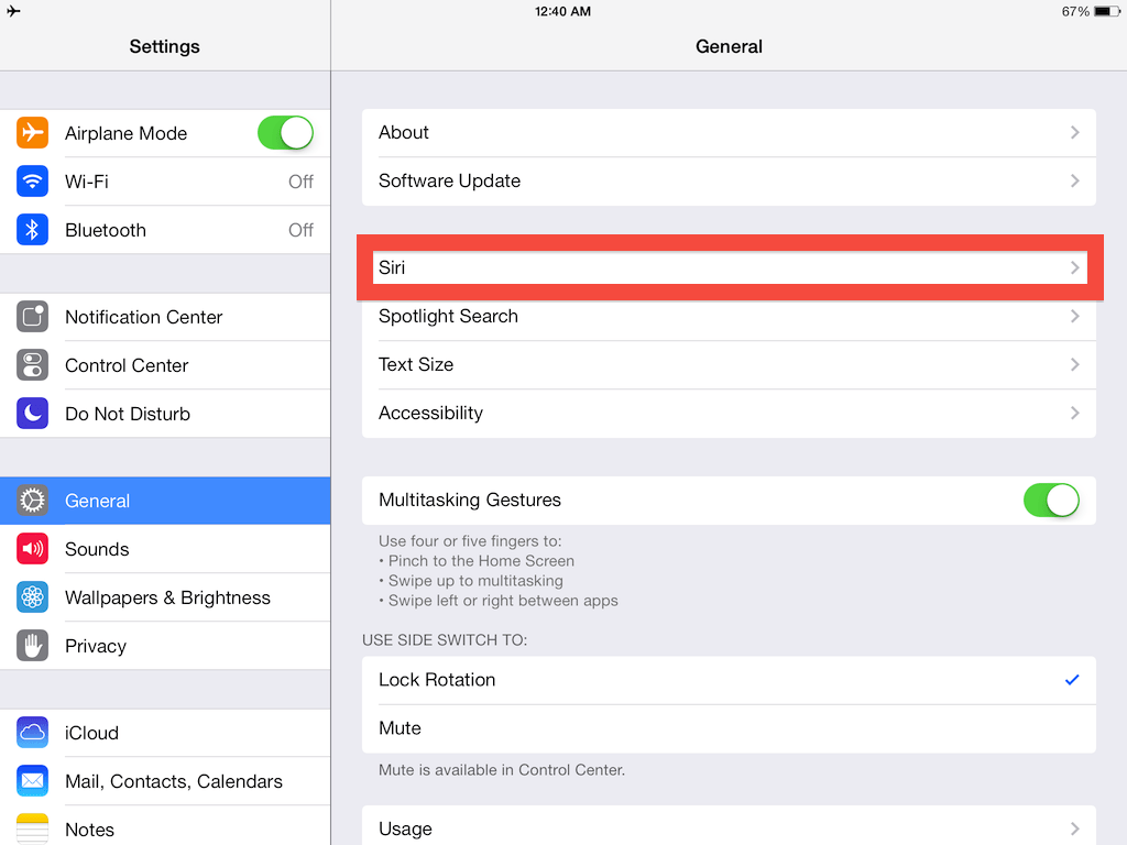 To activate Siri on your iPad, go to the general tab in your settings and select Siri