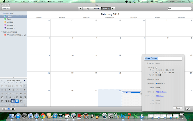 in iCal double-click the square of the preferred date and the new event box will appear
