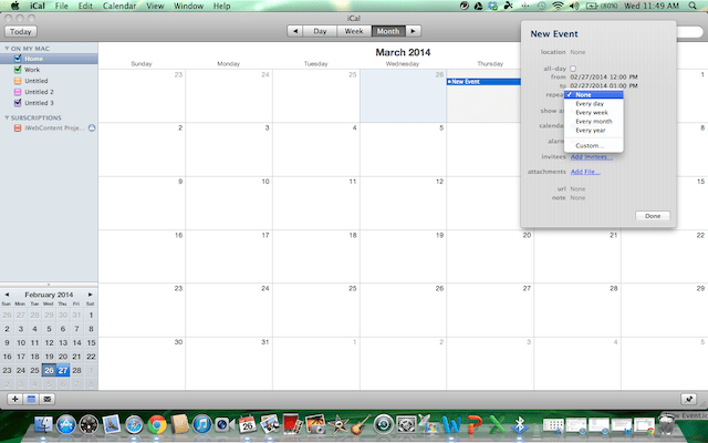 in iCal, select how often you want the event to repeat