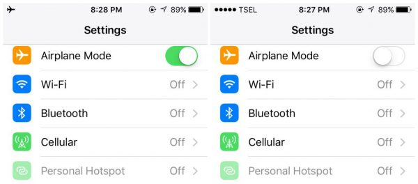toggle airplane mode