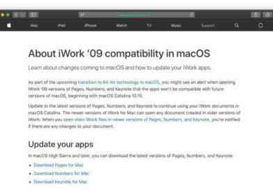 macOS Catalina、古いiWorkとMicrosoft Officeの互換性はなし!