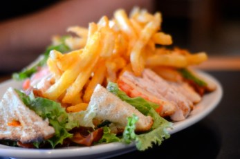 Turkey Club and Fries