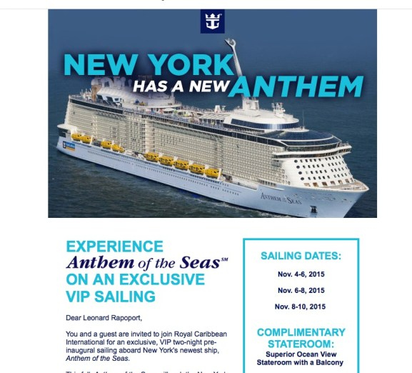 Invitation For Inaugural Cruise