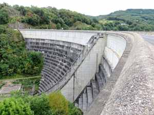 The dam at Bort-les-Orgues, France, Dordogne, hydroelectric power