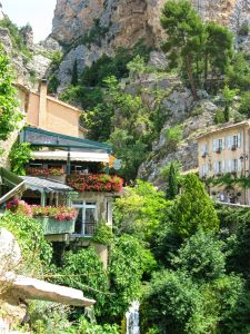 Moustiers-Sainte-Marie, Gorges du Verdon, Provence, France, waterfall, flowers, rocks, beautiful old houses