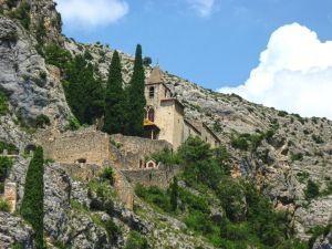 Notre-Dame de Beauvoir, Moustiers-Sainte-Marie, Gorges du Verdon, Provence, France, chapel, rocks, cypress trees
