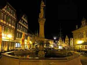 Bretten, night, moonlit, fountain, half-timbered houses
