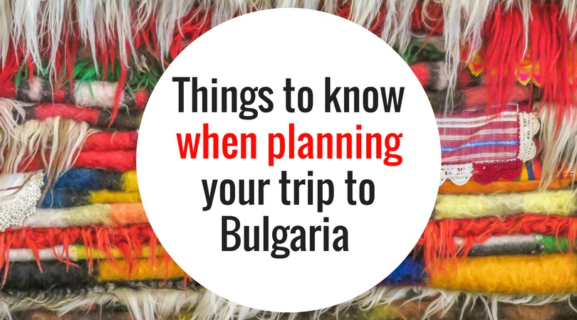 a pile of colourful rugs with a text on them: Things to know when planning your trip to Bulgaria
