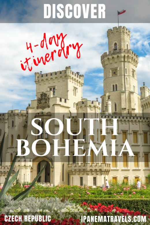 a white castle with flowers in front and overlay text - discover South Bohemia with this 4 day itinerary in Czech Republic