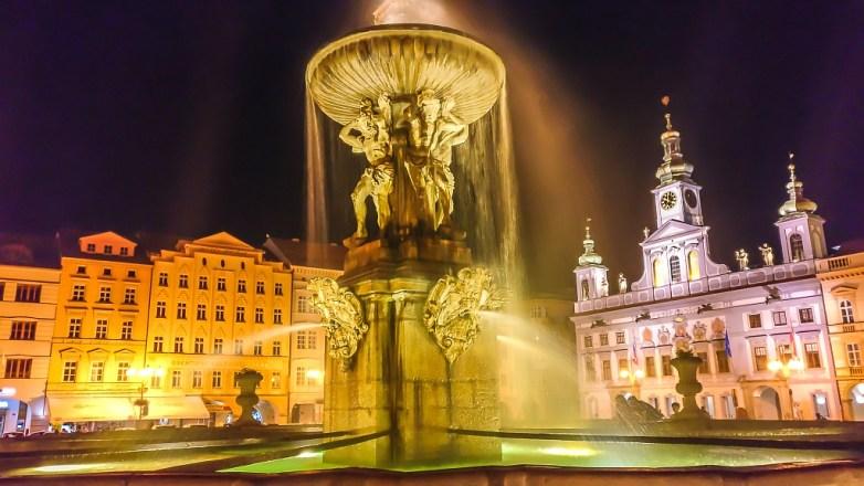 Samson Fountain at night - Ceske Budejovice