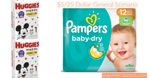 $5/25 Dollar General All Digital Diaper Scenario! #deannasdeals