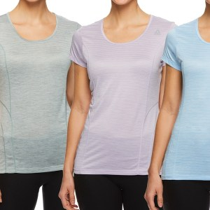 Reebok Women's Fitted Performance Spacedye Mini Burnout Stripe T-Shirt