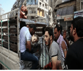 Wounded civilians arrive at a hospital in Syria