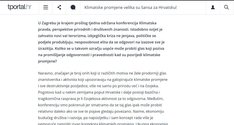 """<a href=""""https://www.tportal.hr/vijesti/clanak/klimatske-promjene-velika-su-sansa-za-hrvatsku-20151119"""" target=""""_blank"""">Intervju s Vedranom Horvatom o pokretanju IPE-a i konferenciji """"Klimatska pravda: perspektive prirodnih i društvenih znanosti""""   Tportal, 22.11.2015. </a>"""