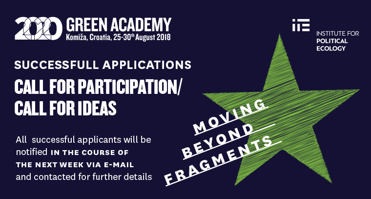 Green Academy 2018 selection results!