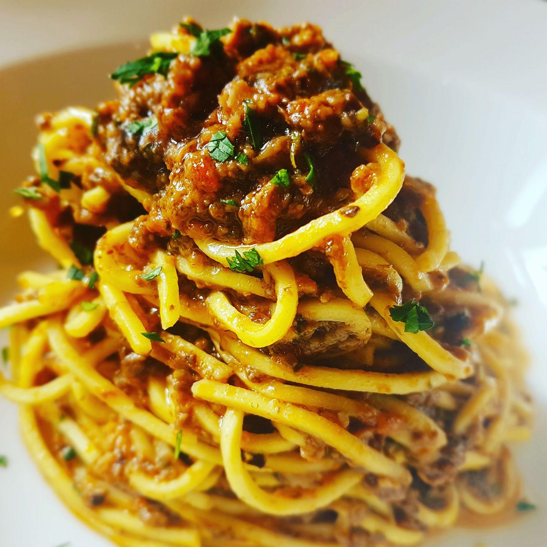 Spaghetti Con Ragu Di Funghi Champignon
