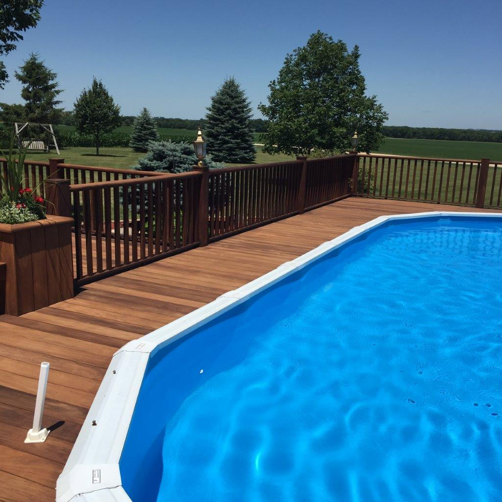 Beautiful poolside ipe deck restoration.