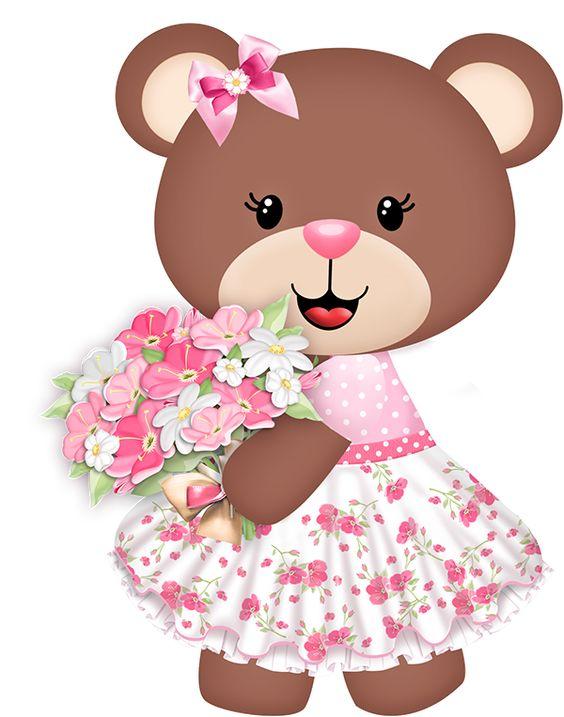 Ursinha feliz com um buquê de flores