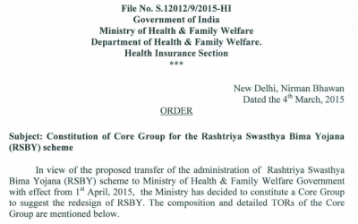 N. Devadasan on the Core Group to redesign the Rashtriya Swasthya Bima Yojana