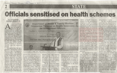 Dr. Devadasan in Nagaland to orient the Government on Health Financing (10-08-2015 to 14-08-2015)