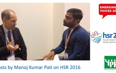 Manoj Kumar Pati, staff at IPH published blogs on organised session – HSR2016