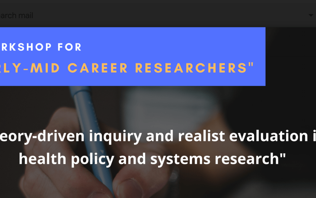 "Workshop on ""Realist evaluation in health policy and systems research"""