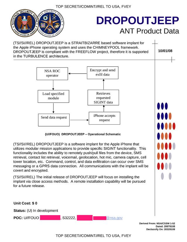 NSA Beschreibung von DROPOUTJEEP für das iPhone