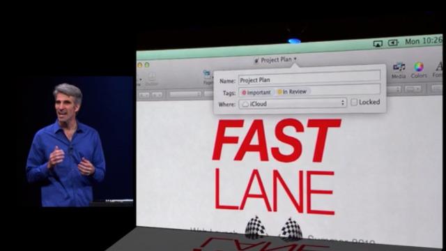 Craig Federighi präsentiert Schlagworte in OS X Mavericks