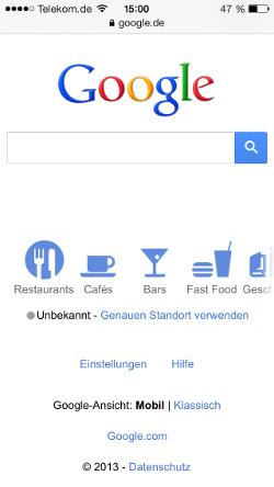 Google im Safari-Browser auf dem iPhone