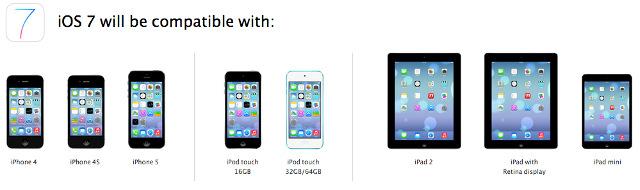 iOS 7 Gerätekompatibilität
