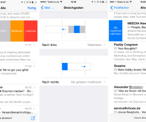 iOS 8 Wischrichtung Mails