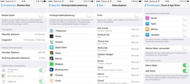 Datenvolumen iPhone Einstellungen