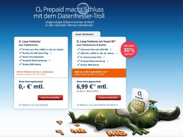 Prepaid Angebot von o2