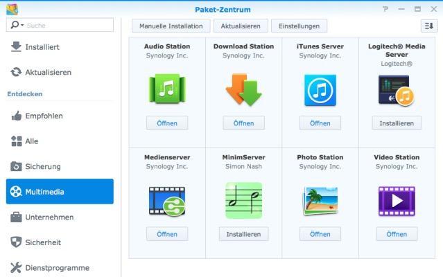 Multimedia Optionen Synology DS215j