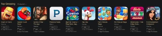 Beliebtesten Apps 2014 in den USA mit dem größten Umsatz