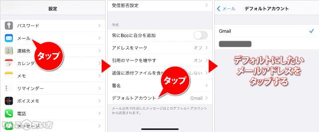 デフォルトのメールアドレスを変える方法