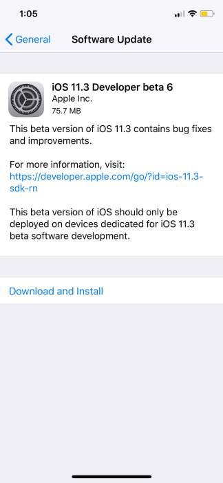 iOS 11.3 ©Beta seis