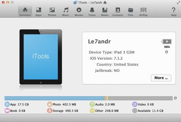 ITools mit verbundenem iPad