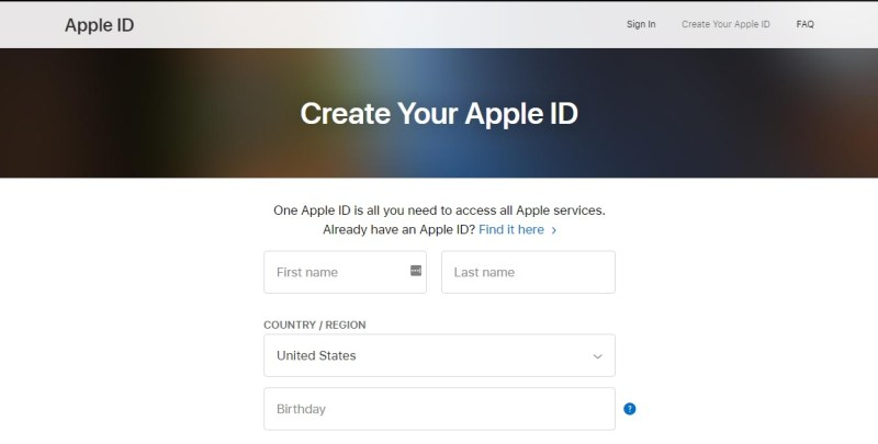 3. The Create Apple ID web page will show up