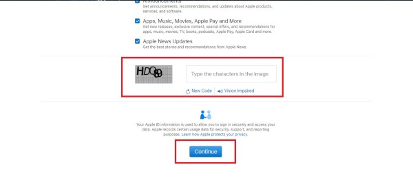 How to Open New Apple ID on Any PC - 4. Type the Captcha code