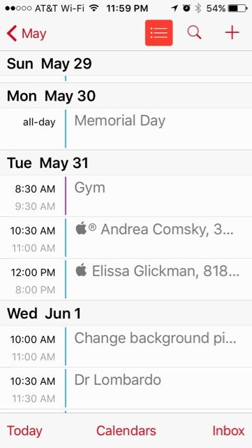 iPhone Calendar, vertical orientation