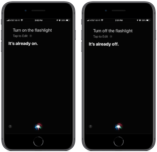 "Screenshots: Siri lets you know the flashlight is already on when you ask it to be turned on a second time. Same thing for ""off."""