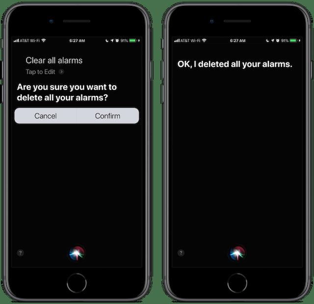 Screenshot: Siri, clear all alarms