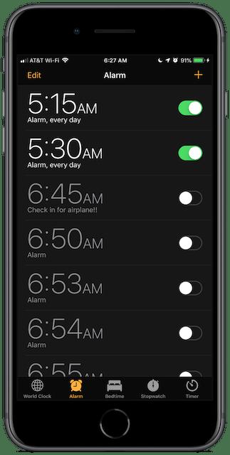 Screenshot: lots of alarms